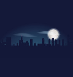 silhouette of dark city buildings night landscape vector image