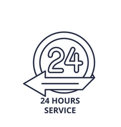 24 hours service line icon concept 24 hours vector image