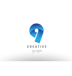 9 nine blue gradient number numeral digit logo vector