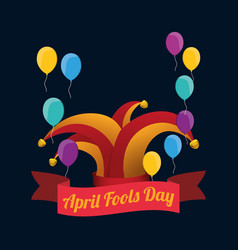 April fools day hat joker balloons background vector