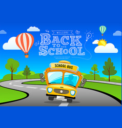 Back to school bus on road and tree concept vector
