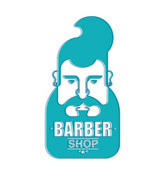 Barbershop sign hipster face with beard vector