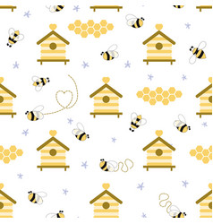 Beekeeping seamless pattern honey apiary beehive vector