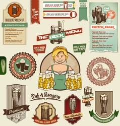 Beer design elements vector image