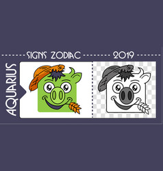 Black pig taurus zodiac vector