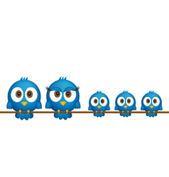 Blue birds family vector image vector image