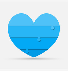 blue pieces puzzle of romantic medical heart vector image