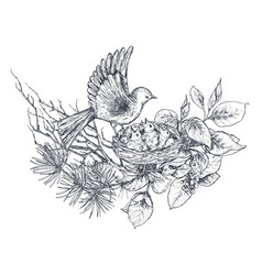 Bouquet with hand drawn blossom branches and birds vector