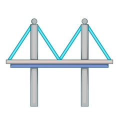 Bridge with iron supports icon cartoon style vector