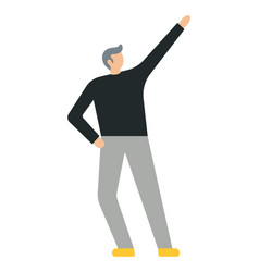 business man with his raised hand flat style vector image