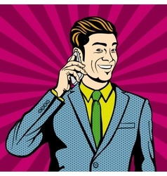 Businessman talking on cell phone vector