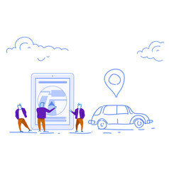 Businessmen using mobile app taxi service online vector