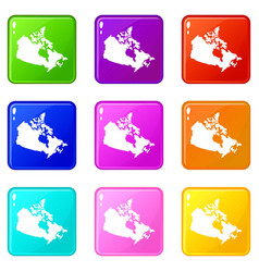 Canada map icons 9 set vector
