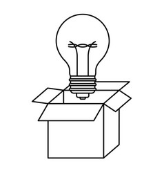 cardboard box and light bulb in black contour vector image