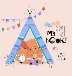 cartoon funny animals reading book in a teepee vector image