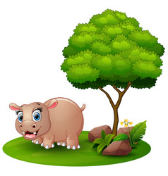 cartoon hippo under a tree on a white background vector image
