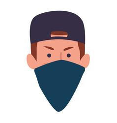 Cartoon man face with cap and mask bandana vector