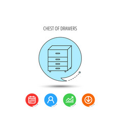 chest of drawers icon interior commode sign vector image
