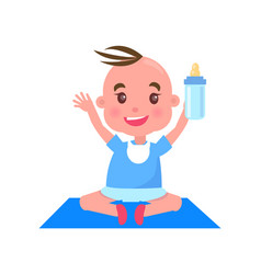 Child with bottle on mat vector