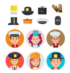 Children and their dream jobs set vector