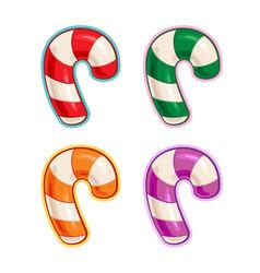 Christmas cartoon icon set - candy cane purple vector