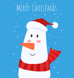christmas greeting card and cute snowman with red vector image