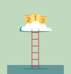 climb to winners podium vector image