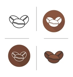 Coffee beans flat design linear and color icons vector image
