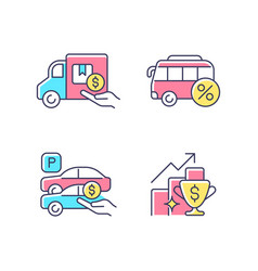 Corporate perks at work rgb color icons set vector