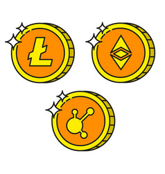 cryptocurrency black outline gold icons bitconnect vector image