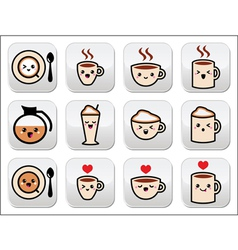 Cute coffee cappuccino and espresso kawaii button vector image