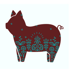 Cute stylized silhouette of pig ornamental vector
