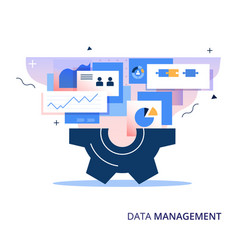 Data management business abstract vector