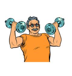 elderly man lifts dumbbells fitness sport vector image