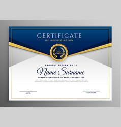 Elegant blue and gold diploma certificate template vector