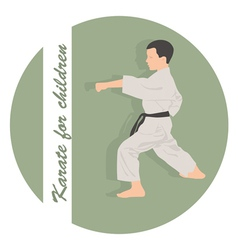 Emblem the boy is engaged in karate on a green vector