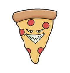 Evil slice pizza cartoon vector