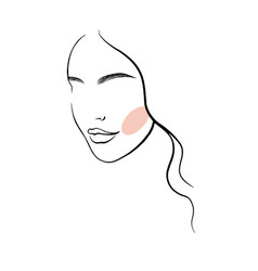 face a beautiful young woman line art 4 vector image