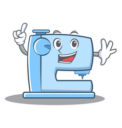 Finger sewing machine emoticon character vector