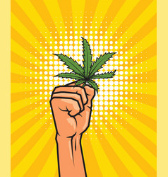 Fist held high hold on cannabis leaf vector