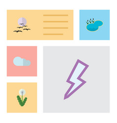 flat icon natural set of gull lightning overcast vector image