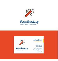 flat magic stick logo and visiting card template vector image