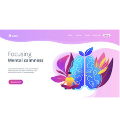 focusing and mental calmness landing page vector image