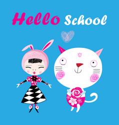funny a hello school vector image