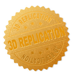 Gold 3d replication medal stamp vector
