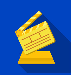 gold clapperboard on standaward for best director vector image vector image