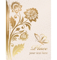 gold decorative floral background vector image