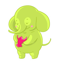 Green cartoon elephant hugs pink little bird vector