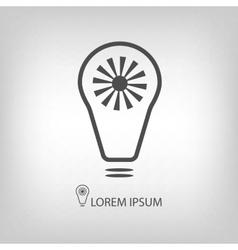 Grey bulb with sun as eco energy symbol vector image