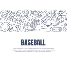 hand drawn baseball symbols used in card vector image